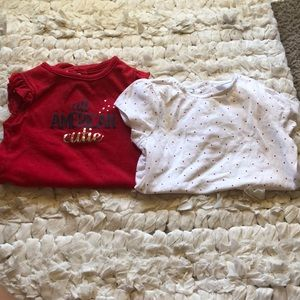 Two red and white Onesies